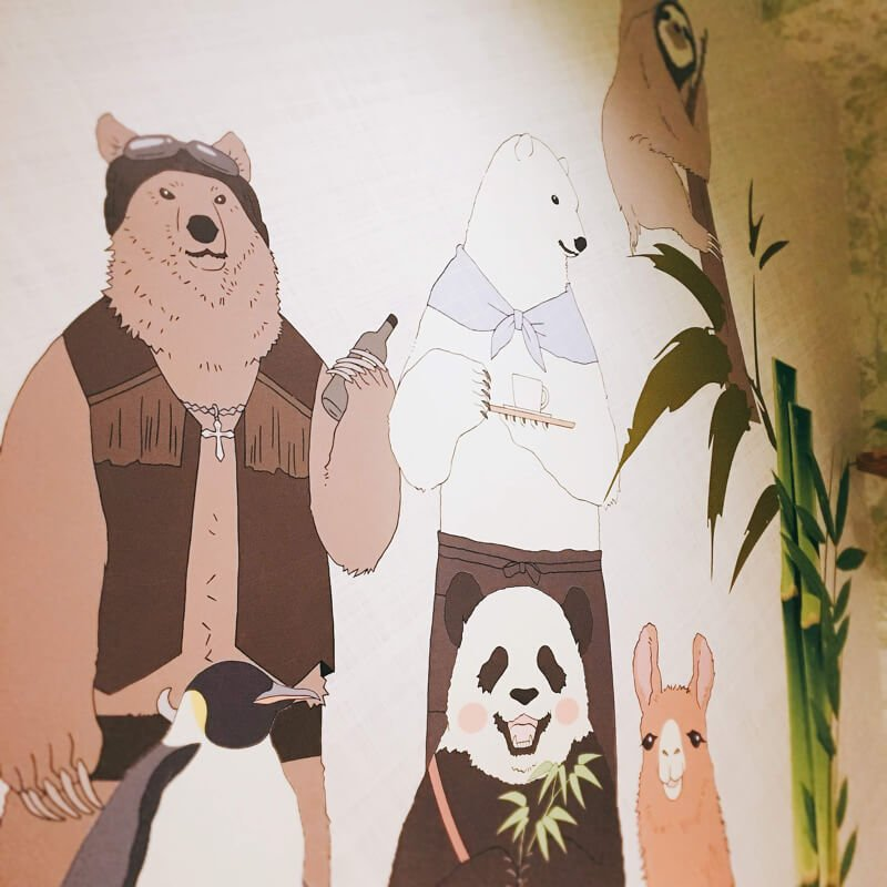Bathroom walls painted with Shirokuma Cafe characters