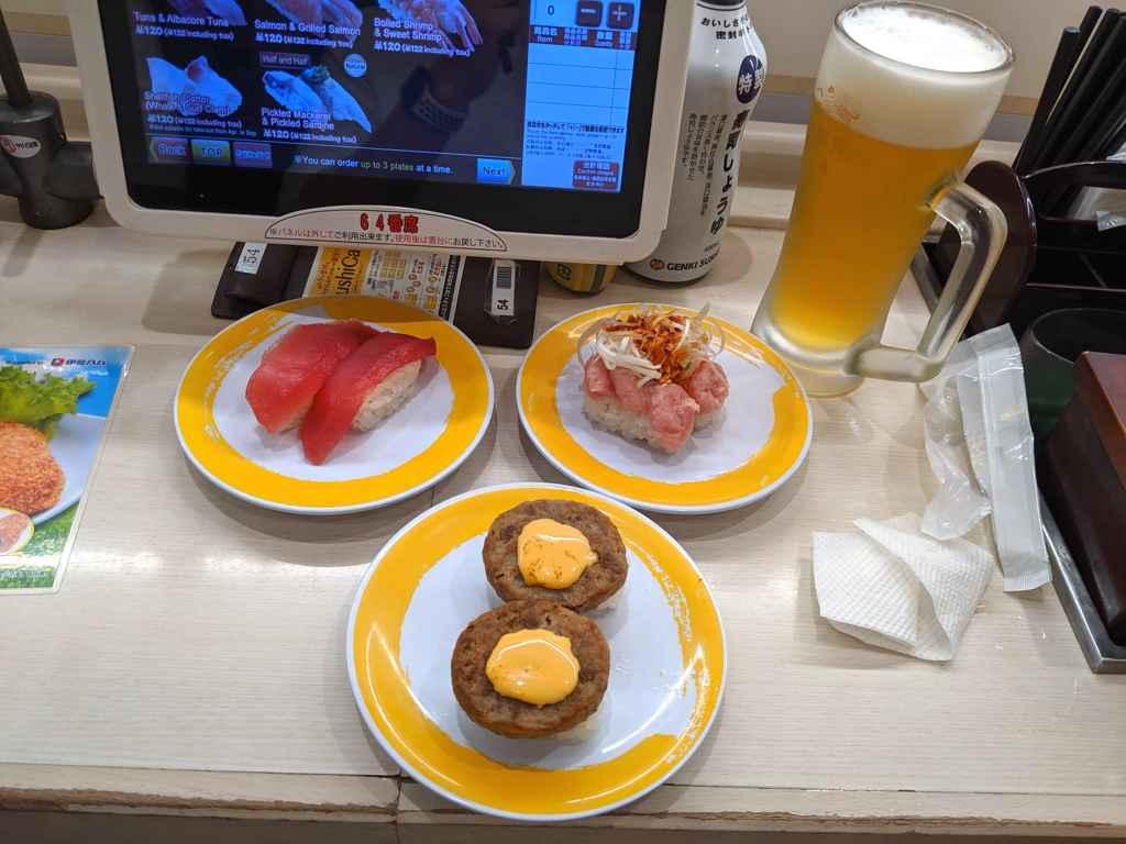 Counter space at Genki Sushi