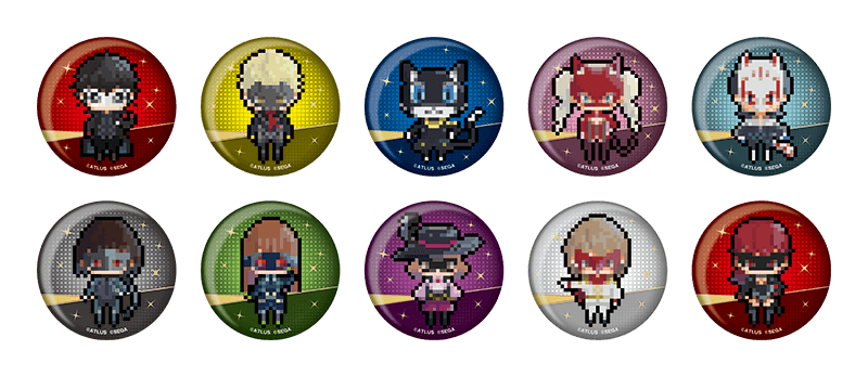 Character pin badges, pixelated