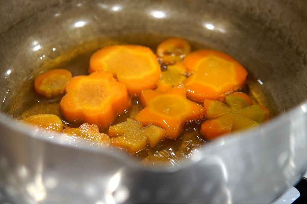 Boiling the carrots