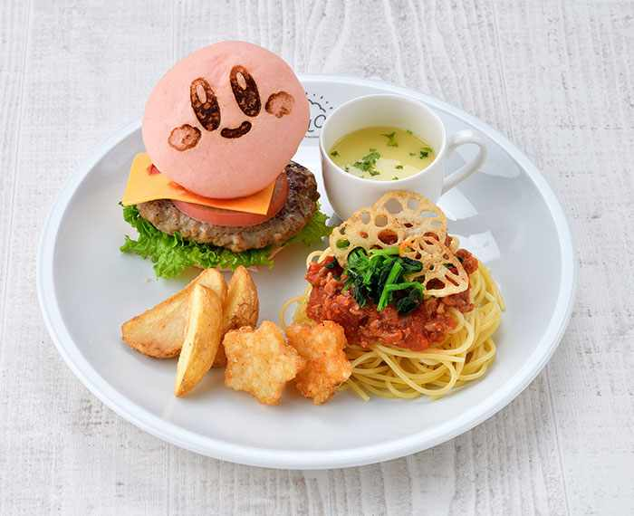 Kirby Burger & Meat Pasta with Steamed Vegetables (2,580 yen) - Kirby Cafe - Tokyo, Japan