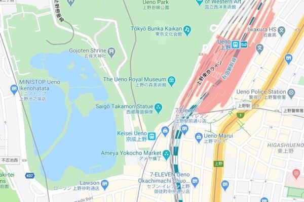 Map of Ueno, Tokyo, Japan