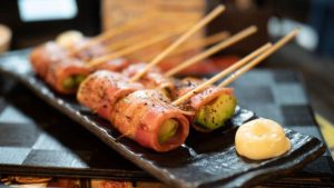 Hot skewers on a plate