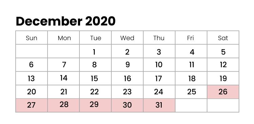 December 2020 Winter Holidays in Japan