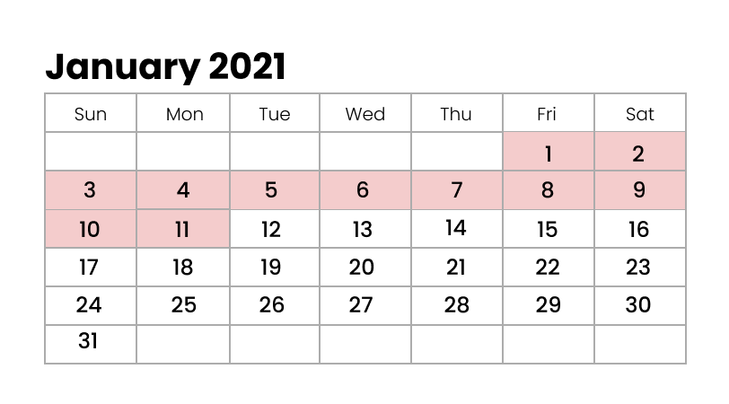 January 2021 Winter Holidays in Japan
