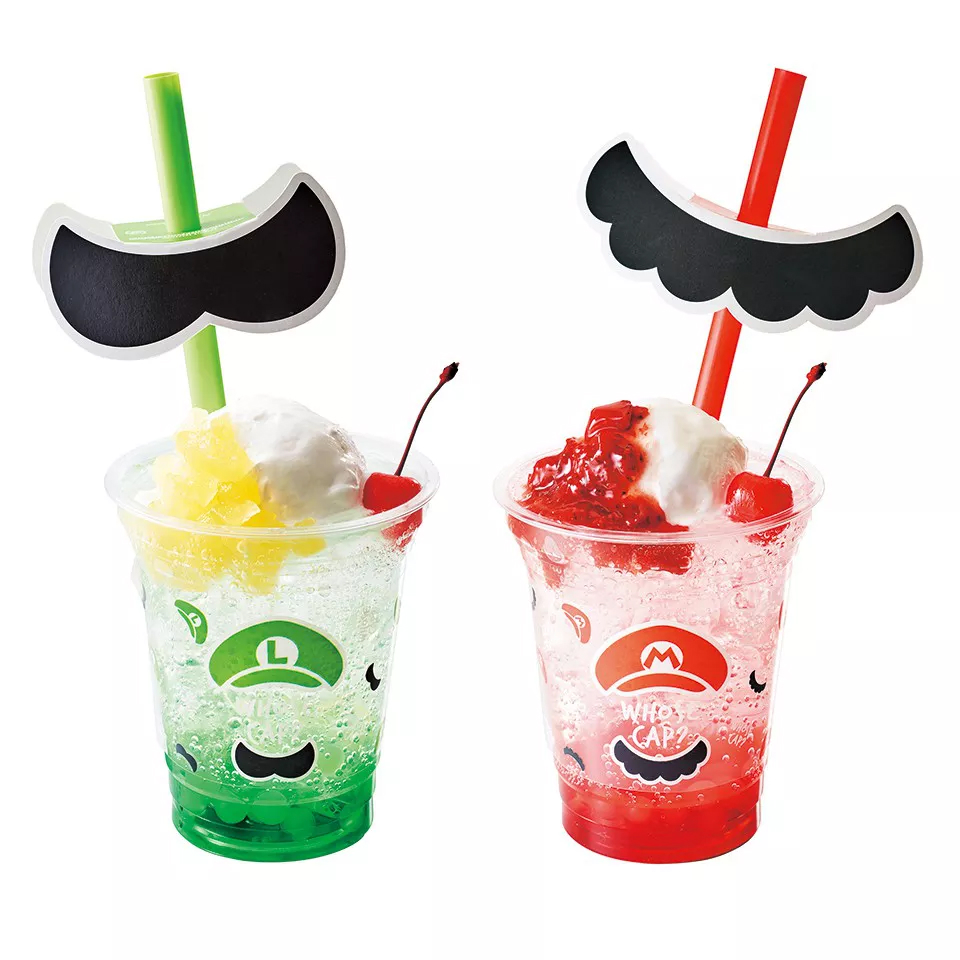 Green and pink moustache cream soda sold in Super Nintendo World