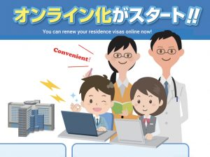 Illustration of 4 people renewing their Japanese visas online.