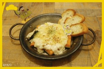 Melted cheese on bread