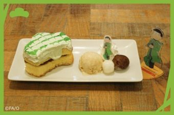 A plate with ice cream and sweets