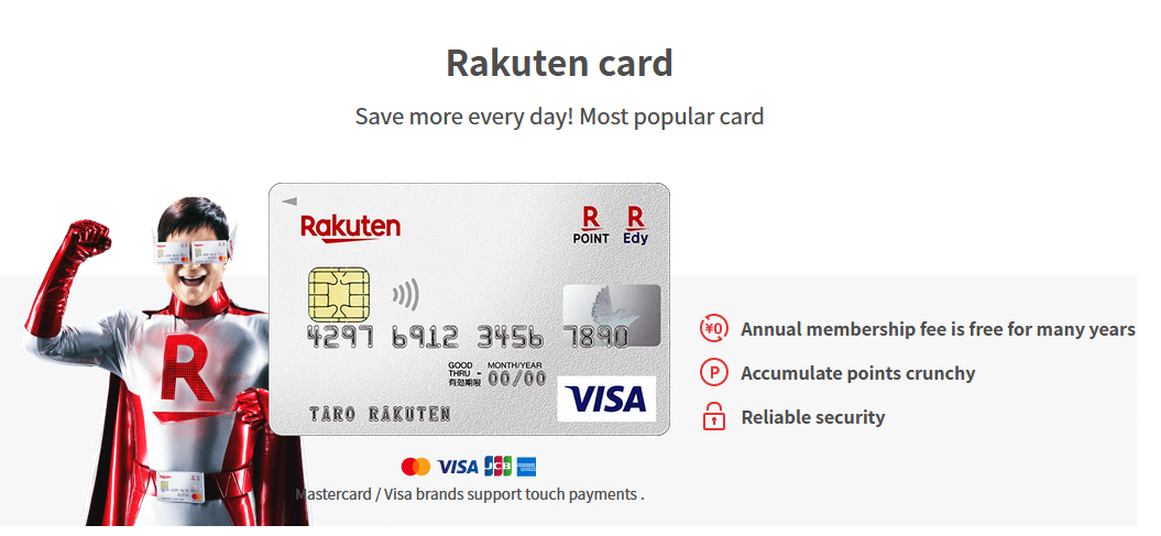 Rakuten's most popular card with an overview of benefits.