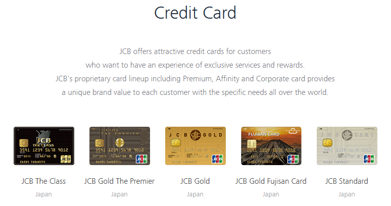 A lineup of JCB's Japan credit cards.
