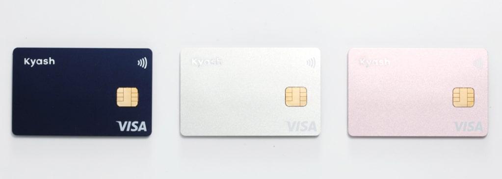 Kyash Visa card selection in blue, silver and rose gold pink