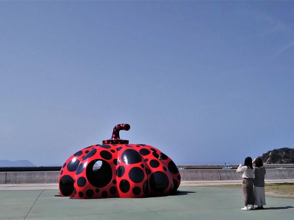 Naoshima Red Pumpkin by Yayoi Kusama