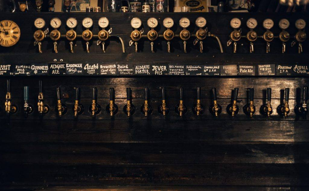 A view of the Aldgate's craft beer taps.