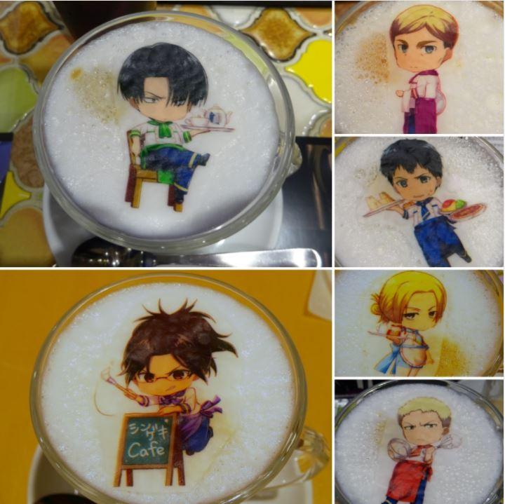 Special Attack on Titan drinks at Charaum Cafe. Levi, Eren, Mikasa, Hanji-san.